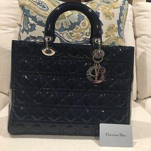 Christian Dior Large Dark Blue Lady Dior Bag EXC